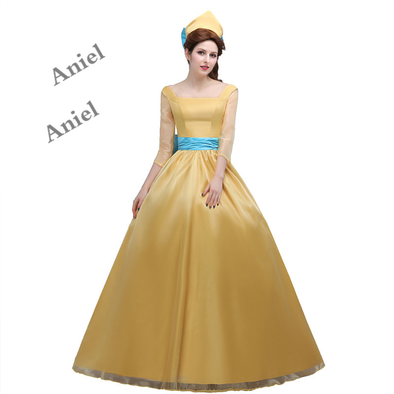 Ainiel Movie Beauty and the beast Cosplay Costume Princess Belle Yellow Long Dress for Women Formal Occasion Festival Party