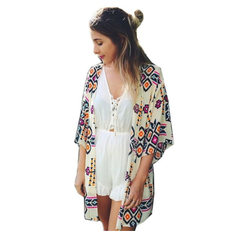 Fashion Womens Casual Geometric Print Jacker Coat Kimono Cardigan Blouse Tops