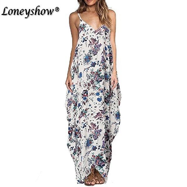 Bohemian Style Plus Size Casual Maxi Dresses New 2017 Summer Loose Women  Dresses Vestidos Ethnic Floral Print Tunic Beach Dress 924d94bd2be5