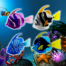 Новинка года, забавная электронная игрушка для плавания с питанием от батареи, игрушка для домашних животных, для украшения аквариума, фонарь для рыбы, игрушки для воды