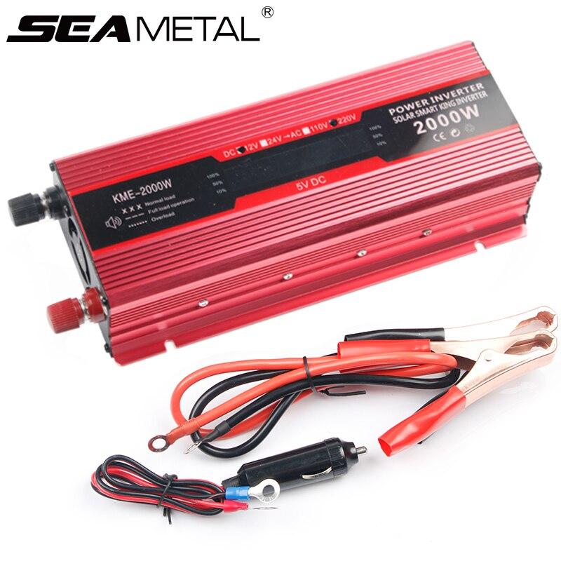 Onduleur de voiture 12 v 220 v 2000 W 1000 W puissance USB LED convertisseurs d'affichage onduleurs 12 220 tension USB chargeur automatique Kits d'adaptateur solaire