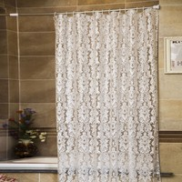 White Semitransparent Vine Pattern Bathroom Mouldproof PEVA Shower Curtain Waterproof Thicken Bath Curtain With Hooks Rings