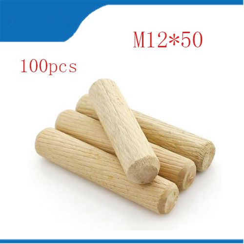 100pcs M12mm Diameter without Groove 50mm Length Smooth without Twill Hardwood Round Furniture Fitting Wood Dowel Pin 100pcs 50mm iron