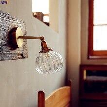IWHD скандинавский японский стиль медный настенный светильник для спальни ванной комнаты зеркальный светильник современный стеклянный шар настенный светильник s светильники лестничный светильник ing