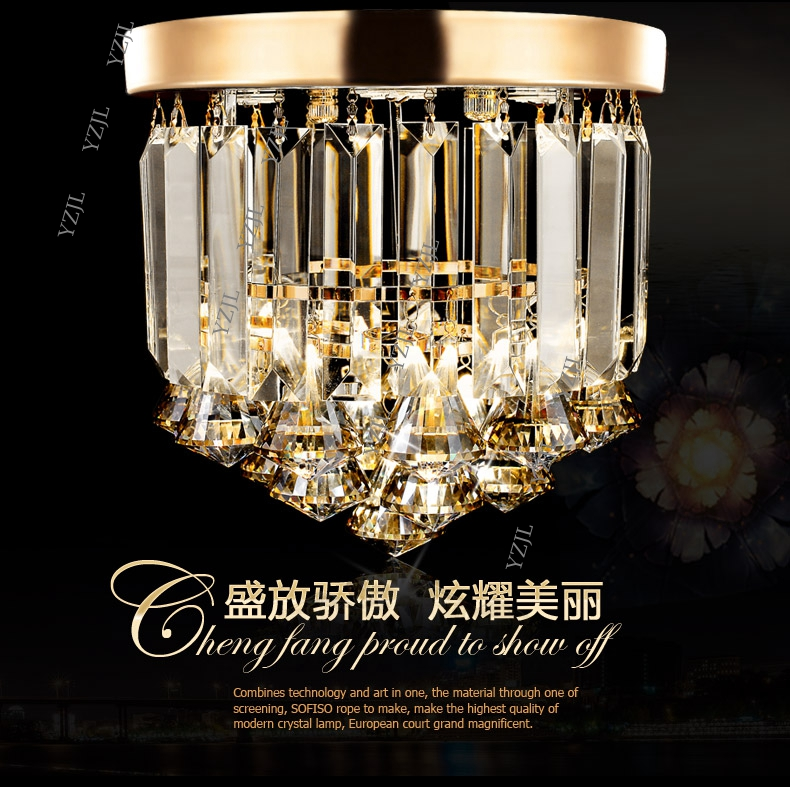 D23CM corridor ceiling light ceiling light crystal porch ceiling lamp hall balcony creative LED ceiling light crystal round