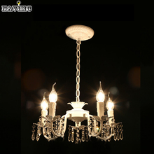 White Iron Crystal Chandelier Modern Lighting Fixture for Girls Rooms Bedroom Dining Rooms Kitchen Island Foyer LED