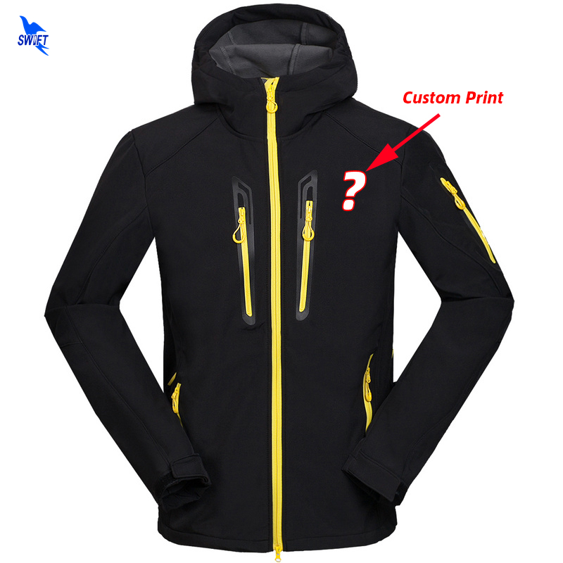 Custom Print Waterproof Windproof Hiking Clothing Thermal Fleece Winter Hooded Softshell Jacket Men Skiing Fishing Hunting Coat