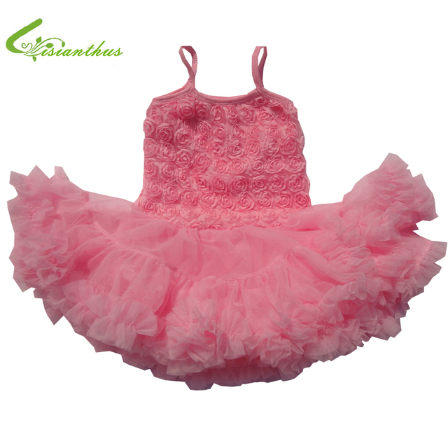 Baby Chiffon Princess Dress Toddler Girls Rose Ball Gown Cute Bubble Tutu Dress Baby Fashion Spring Summer Clothing Free Ship