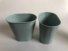 10 pièces/lot baignoire en métal petit Vase ovale de mariage Pots décoratifs bleu ciel centres de table de mariage pots de fleurs en fer SF 0516