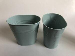 Image 1 - 10Pcs/lot Metal Tub Small Oval Vase Wedding Decorative Pots Sky Blue Wedding Centerpieces iron flower pots SF 0516
