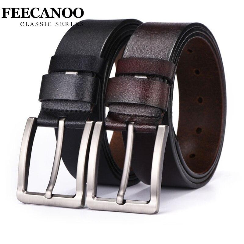 FEECANOO cowhide genuine leather belts for men brand Strap male pin buckle vintage jeans belt 100-125 cm long waist 30-39