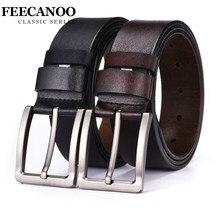 46f7c4cda14c FEECANOO peau de vache véritable ceintures en cuir pour hommes marque  Sangle mâle boucle ardillon vintage