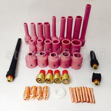 TIG Gas Lens KIT Exclusive Super Long Alumina Nozzle 1 pcs,Back Cap Collet Body Fit TIG Welding Torch SR WP9 20 25,40PK