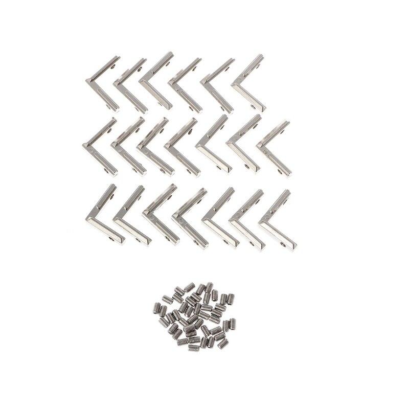 20 pcs T Fente L Type 2020 En Aluminium Profil Coin Connecteur pour 3D Imprimante avec Vis Noix