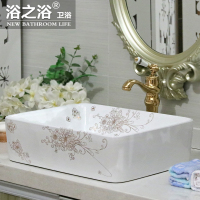 Bath European ceramics countertop art basin bathroom sink square golden orchid wash basin