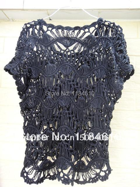 0a98e01a2d Black Strip Lace Blouse Sheer Top Hairpin Crochet Pattern Blusas Femininas