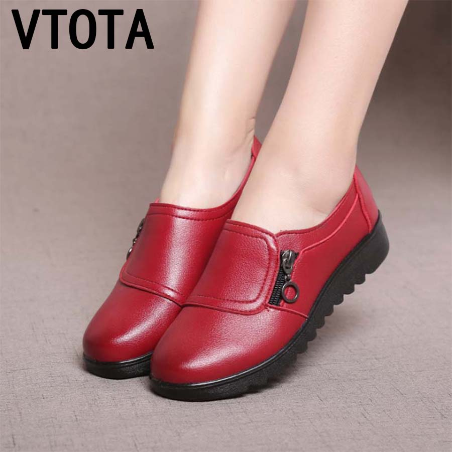 VTOTA 2018 Fashion Casual Flat Shoes Genuine Leather Single Shoes Soft Comfortable Women Mother Shoes Flat Slip On Woman Shoes aiyuqi 2018 new spring genuine leather female comfortable shoes bow commuter casual low heeled mother shoes woeme