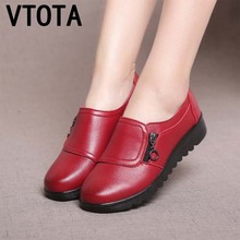 VTOTA 2018 Fashion Casual Flat Shoes Genuine Leather Single Shoes Soft Comfortable Women Mother Shoes Flat Slip On Woman Shoes vtota women flats fashion woman casual single shoes sapato feminino slip on flat shoes woman zapatos mujer ladies shoes b34