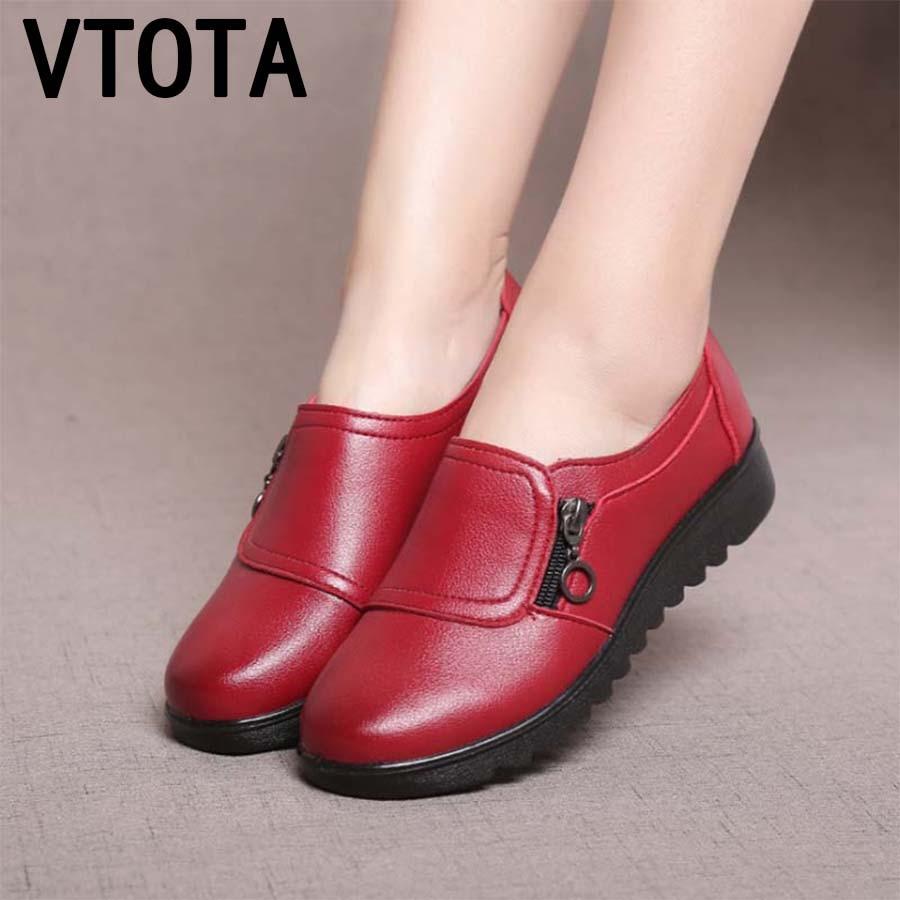 VTOTA 2018 Fashion Casual Flat Shoes Genuine Leather Single Shoes