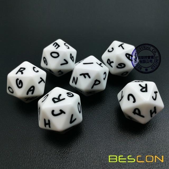 bescon alphabet dice 20 faces a t uppercase 20 sides letter dice 3pcs set