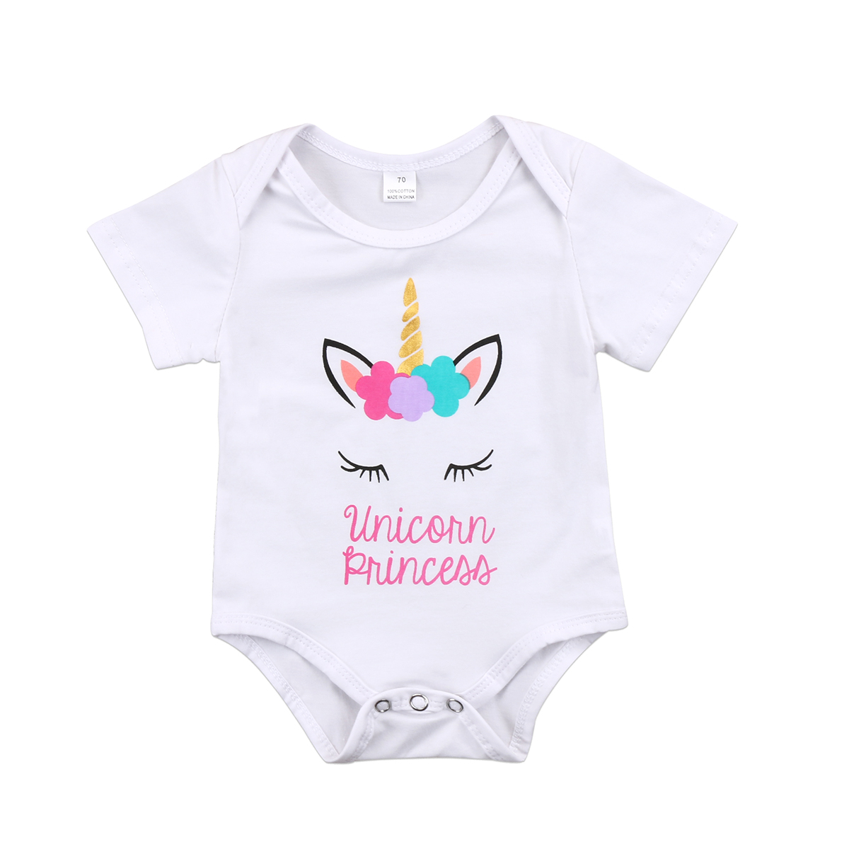Newborn Unicorn Princess Baby Girl Short Sleeve O Neck Fashion Cotton   Romper   Jumpsuit Clothes Outfit
