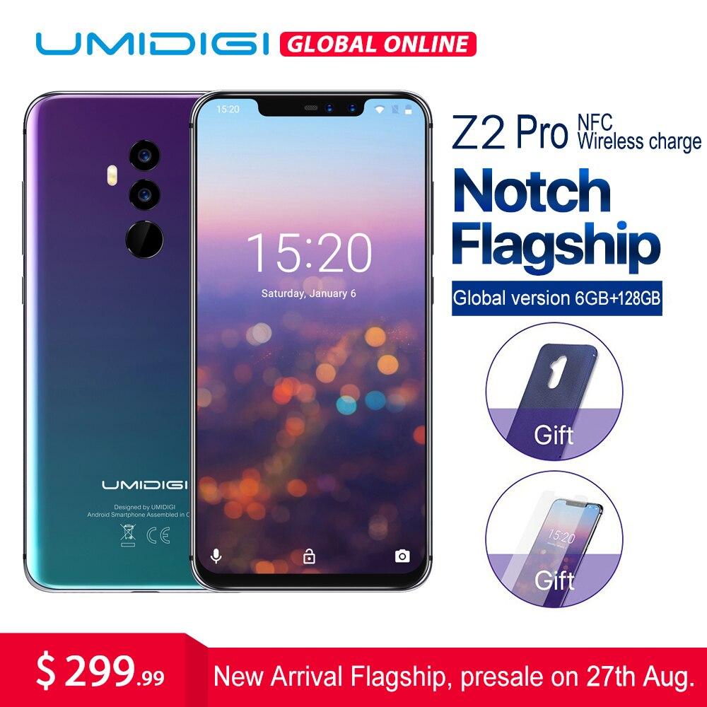 UMIDIGI Z2 Pro 6.2 Full Android smartphone Com tela 8.1 gb + 128 gb Helio 6 P60 16MP Lente Quad 4g LTE NFC Sem Fio taxa de telefone Móvel