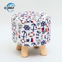 Luxury Modern Upholstered Footstool Nordic Round Stool Wooden Leg Pattern Round Fabric 4 Legs
