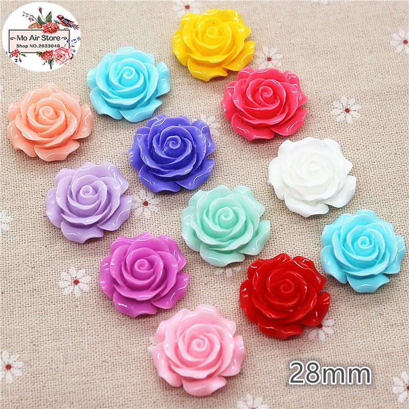 10pcs 28mm Mixed Color Camellia Flower Resin Flatback Cabochon DIY Jewelry/phone Decoration No Hole