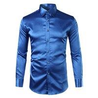 Polyester Silk Shirt Men 2017 Satin Smooth Men Solid Tuxedo Shirt Business Chemise Homme Casual Slim