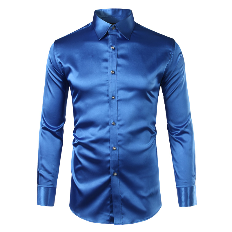 New Royal Blue Silk Satin პერანგი მამაკაცები Chemise Homme 2017 Fashion Mens Slim Fit Smooth Solid Tuxedo Dress Shirts Business Wedding