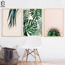 цена Green Plants Leaves Canvas Paintings Nordic Scandinavian Office Wall Art Cactus Poster Picture for Living Room Home Decor онлайн в 2017 году