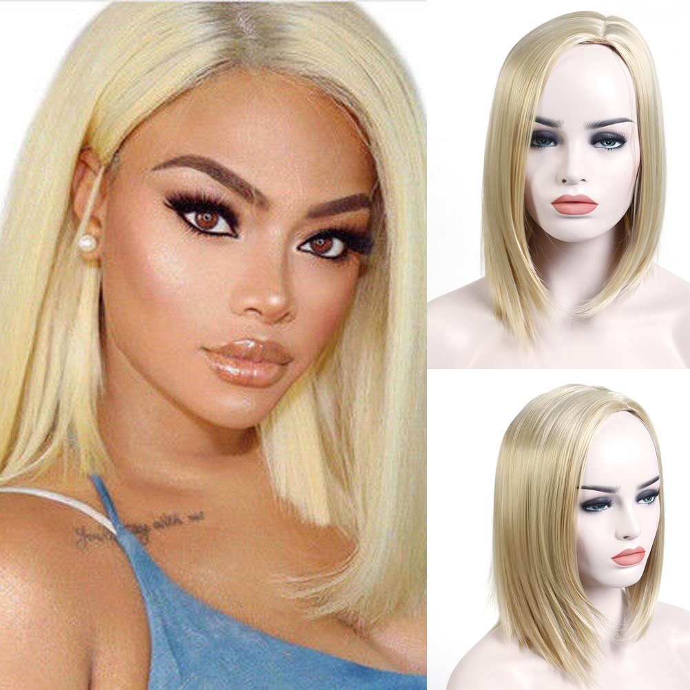 AOSIWIG Short Blonde Bob Wigs Side Part Synthetic Cosplay Daily Party Wig for Women