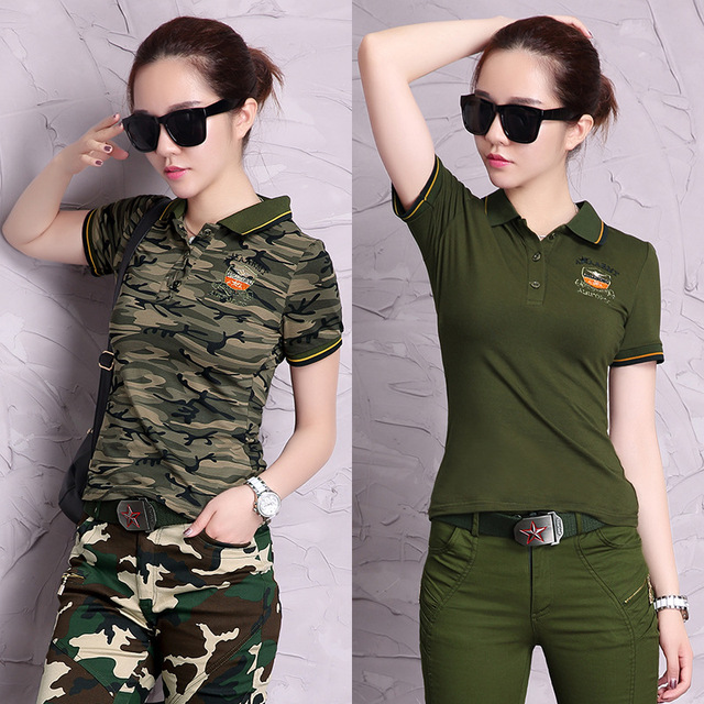 2016 Fashion Camouflage Polo Shirts 3XXL Cotton Tops Women Summer Army Green Tops Camisa Slim Tee Shirt Breathable Polo Shirts