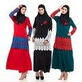 2016 Мода исламская кружева алмазов украшение платье абая кафтан для Малайзии женщин турецкая абая мусульманское платье с длинным рукавом