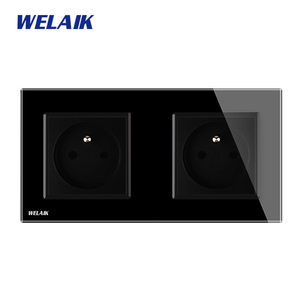 Image 3 - WELAIK Manufacturer 2Frame French Standard Power Socket Tempering Glass Panel EU Wall Socket Wall Outlet 16A AC110~250V A28F8FW
