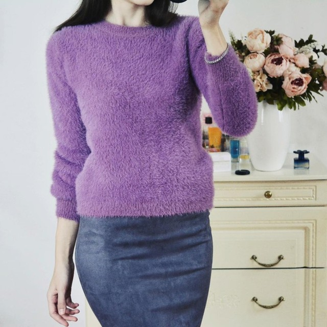 Women Sweaters And Pullovers Pink Purple Blue Ladies Jumper Soft Pull Femme Winter Cashmere Sueter Mujer Maglioni Donna TX4536