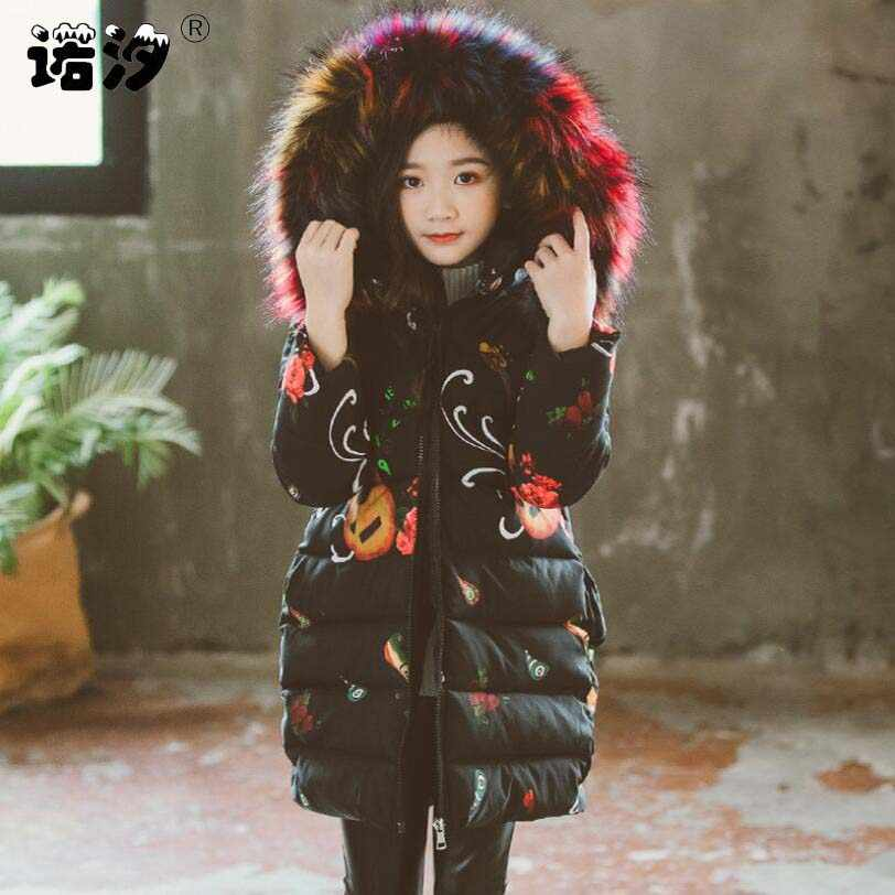 Baby girls costume 3-13T children winter cotton fur hoodies girls warm jacket fashionable kids coat teenage outwear hat remove