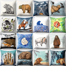 Animal Pattern Cushion Cover Cartoon Bear Fox Peach Skin Sofa Car Seat Soft Decorative Pillow Case Office Living Room Home Decor unicorn cartoon car living room sofa bedroom cushion pillow case