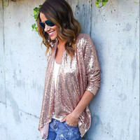 Female Jacket Spring Fashion Women Long Sleeve Solid Sequined Irregular Cardigan Tops Cover Up Blusa Casual