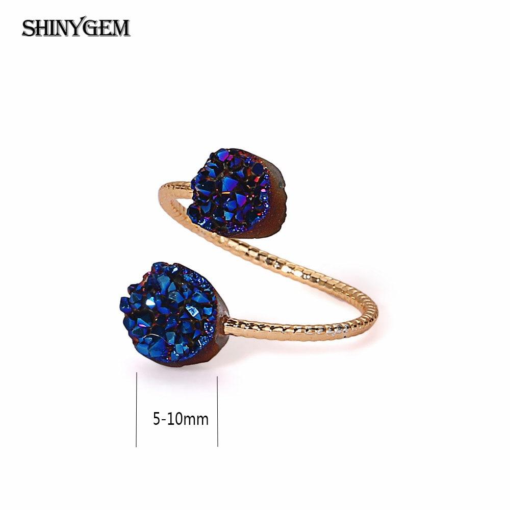 ShinyGem არარეგულარული Druzy Opal Rings - მოდის სამკაულები - ფოტო 2