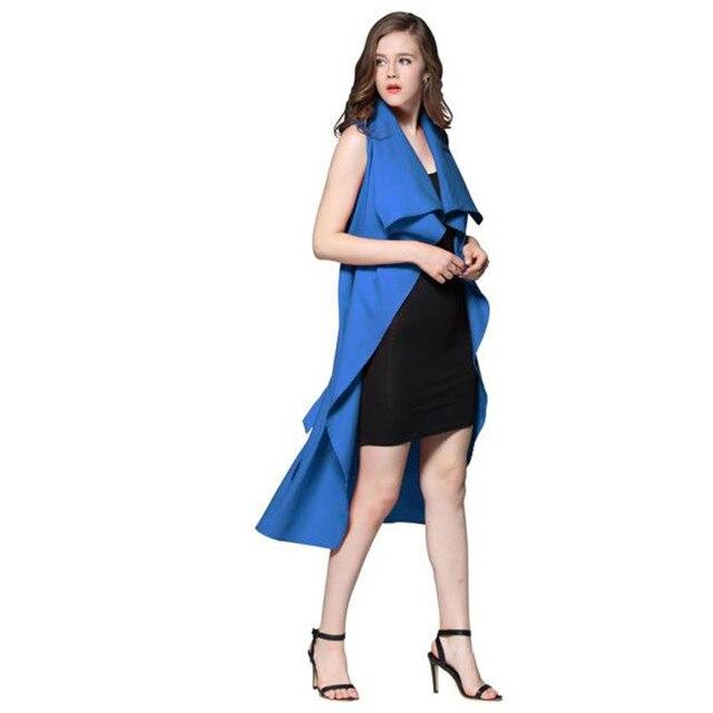 Осень Зима Женщины Моды Пальто Леди Сплошной Цвет Ветровка SleevelessOutwear Тонкий Мягкий Длинный Жилет Sep28
