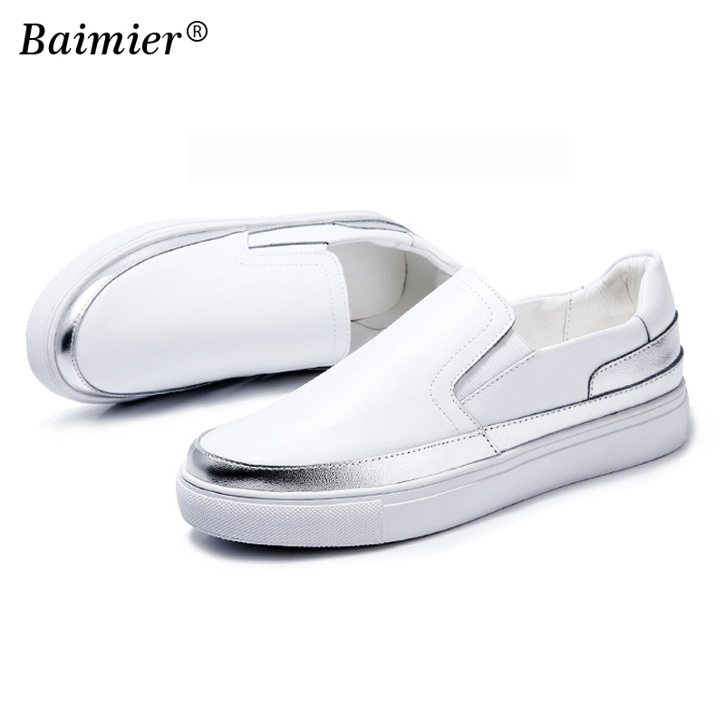 Leather Flat Footwear Loafers High Quality Women Genuine Leather Shoes Black Silver Flat Casual Shoes Student White Shoes