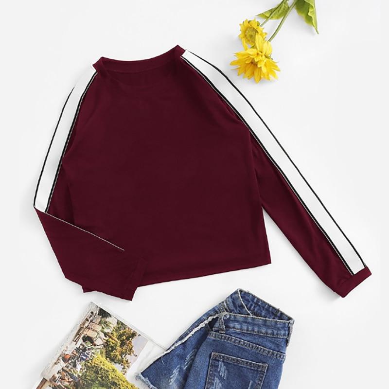 Burgundy Striped Tape Sleeve Women T-Shirt