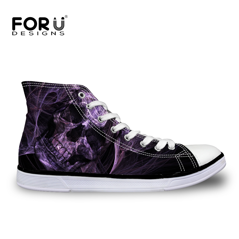 FORUDESIGNS Punk Skull Cool Men Vulcanized Shoes High Top Canvas Shoes Flats for Teenage Boys Casual Men's Sneakers Student 2018 forudesigns women fashion high top flats shoes cool skull design female height increasing platform shoes for teenage girls shoes