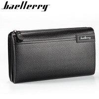 Baellerry Men PU Leather Lichee Pattern Long Zipper Wallet Money Coin Purses Phone Pocket Pochette Male