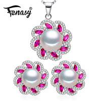 FENASY 925 Sterling Silver Pearl Jewelry Sets For Women Natural Stud Earrings 925 Silver Bohemian Ruby Flower Pendant Necklace