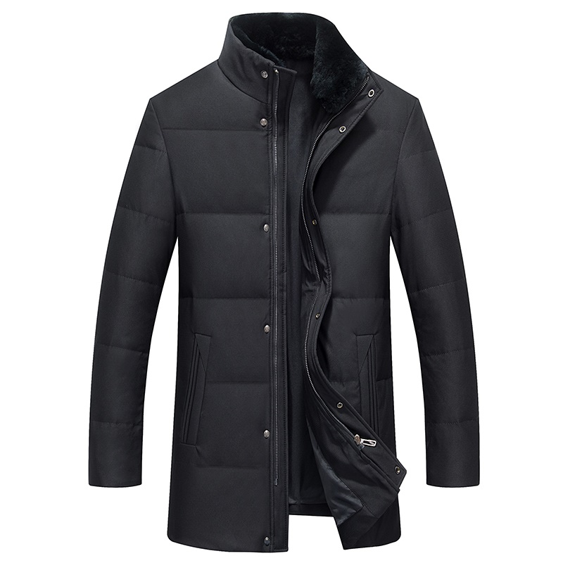 DZYS Men's Duck   Down   Jacket Detachable Rex Rabbit Fur Collar   Down     Coat   for Men Male 7581