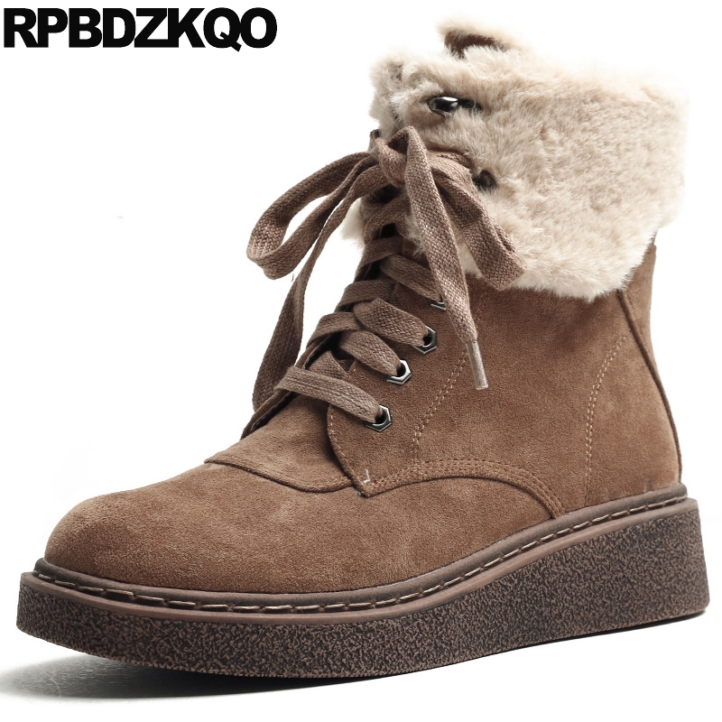 Combat Shoes Round Toe Brown Military Women Boots Winter 2017 Booties Cheap Ankle Lace Up Fur Suede Flat Female Chinese New suede british chelsea platform booties shoes fall ankle thick round toe chunky brown front lace up casual boots autumn fashion