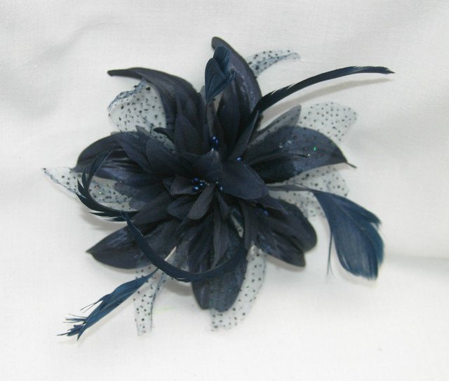 Wholesale - hair accessories feather flower hair pins with bead Corsage  Hair Comb Fascinator fabric flowers for NAVY BLUE color 4fb83cdd734