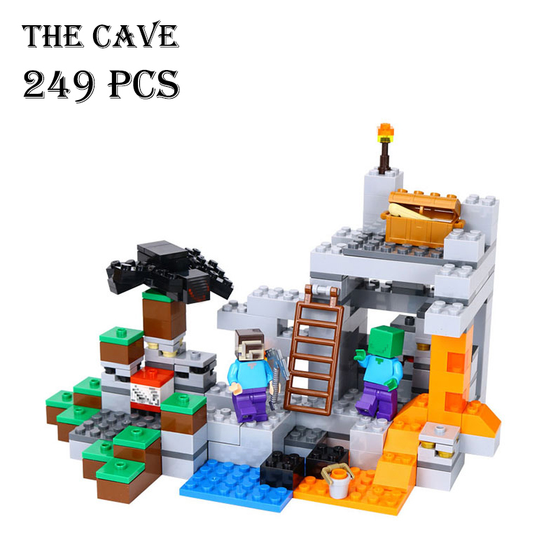 Model building kits compatible with lego 21113 18016 my worlds MineCraft The Cave Educational toys hobbies for children the forbidden worlds of haruki murakami